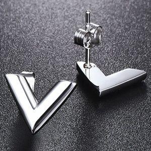 Jewelry - New Stainless Steel Silver 'V' Stud Earrings